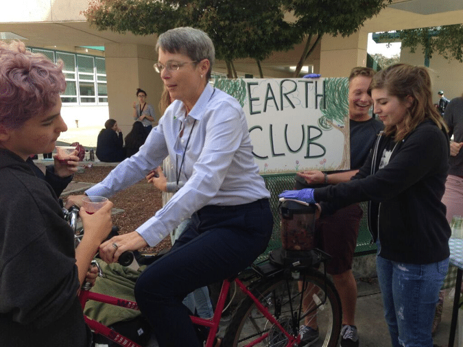 Sonoma Valley High School Principal, Kathleen Hawing, hopped on the bike blender to encourage participation.
