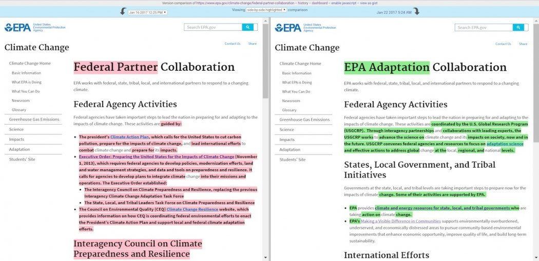 Language on the EPA's international climate partnership page has removed introductory text about the U.S. commitment to the United Nations climate talk process. Click image to enlarge. Credit: EDGI