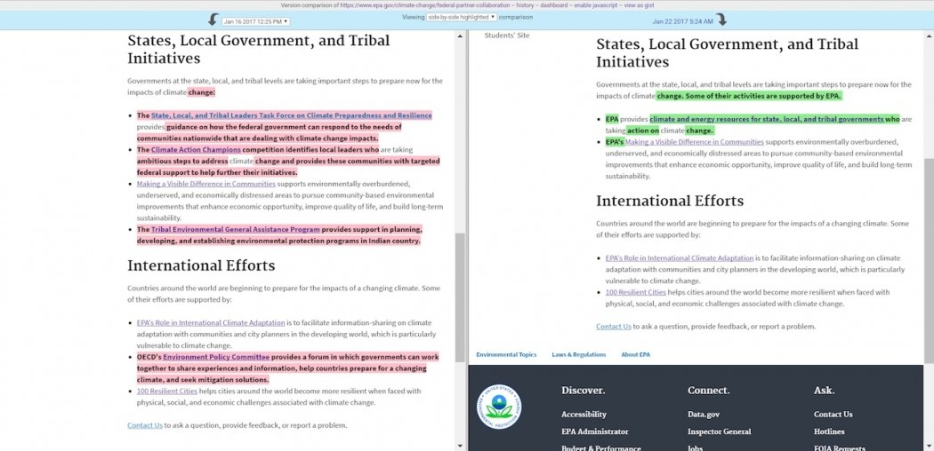 There have been extensive revisions made to the EPA's climate collaboration page, including removing language about carbon pollution. Click image to enlarge. Credit: EDGI