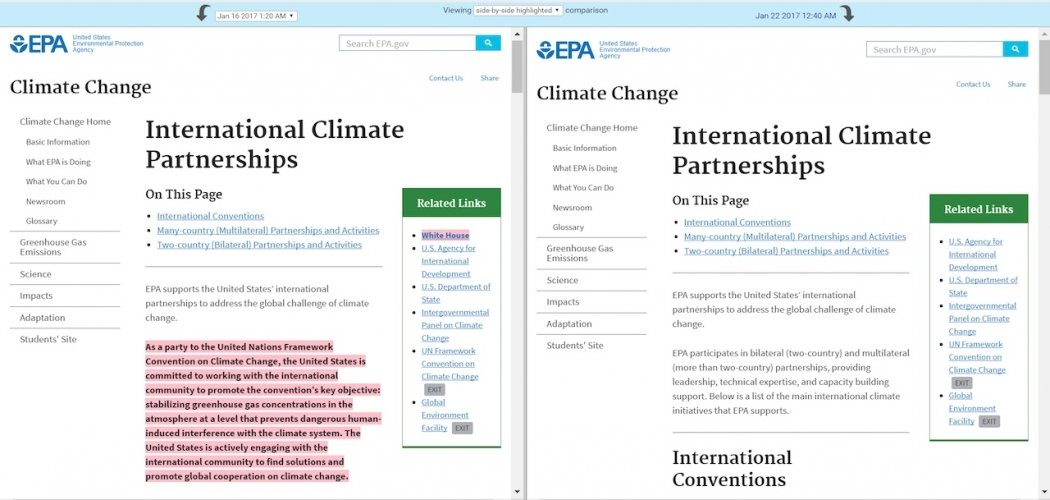 A tribal assistance program has been removed from the EPA's page on climate collaboration. Click image to enlarge. Credit: EDGI
