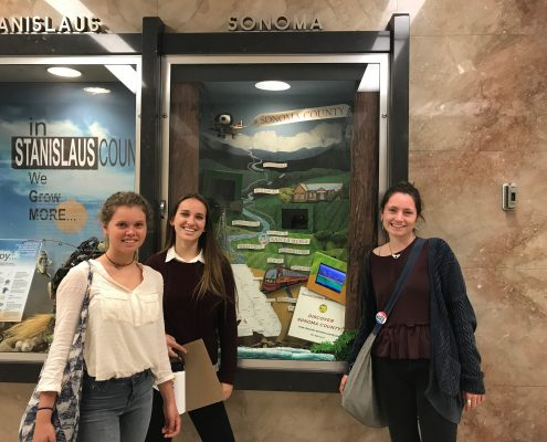 Youth Advisory Board Members Coral Utnehemer, Jasmine Jolly and Tess Caldwell at the state capital county gallery.