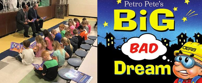 """State Rep. Tom Gann and State Sen. Marty Quinn read aloud to first graders at Jefferson Elementary School in Pryor, Oklahoma; In """"Petro Pete's Big Bad Dream,"""" the main character finds out life without petroleum is a """"nightmare."""" Published in 2016.Oklahoma Energy Resources Board."""