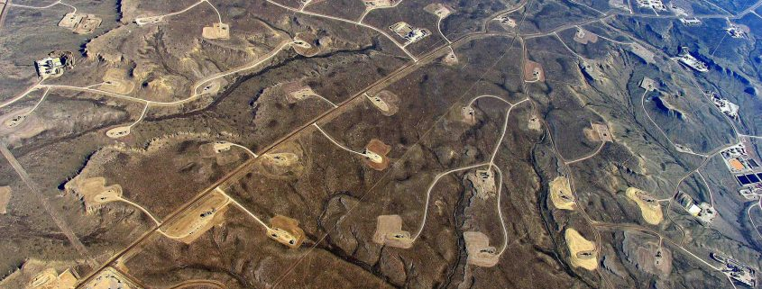 Aerial view of fracking wells.