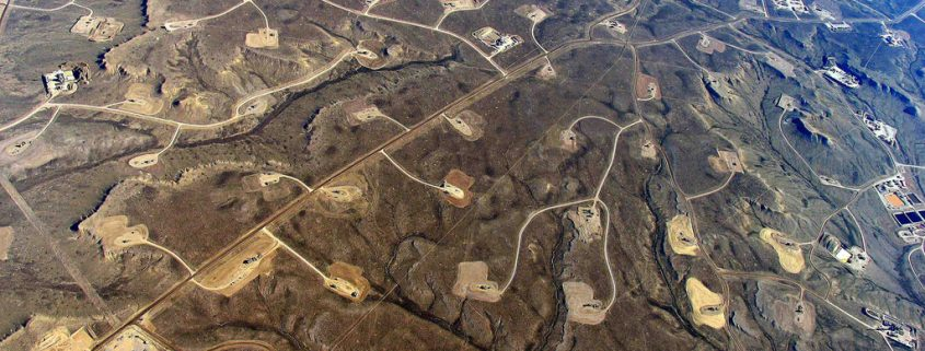 Aerial view of fracking.