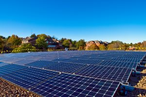 Solar electricity array on the roof of the library of Eastern Mennonite University by Dyoder