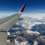 Plane View Over Mountain Range