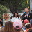 LAUSD school board member Nick Melvoin joins protesters in Westwood